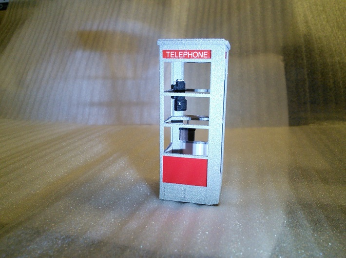 Telephone Booth, 1/32 Scale 3d printed Font used for TELEPHONE is Mandatory. Font size is 8.