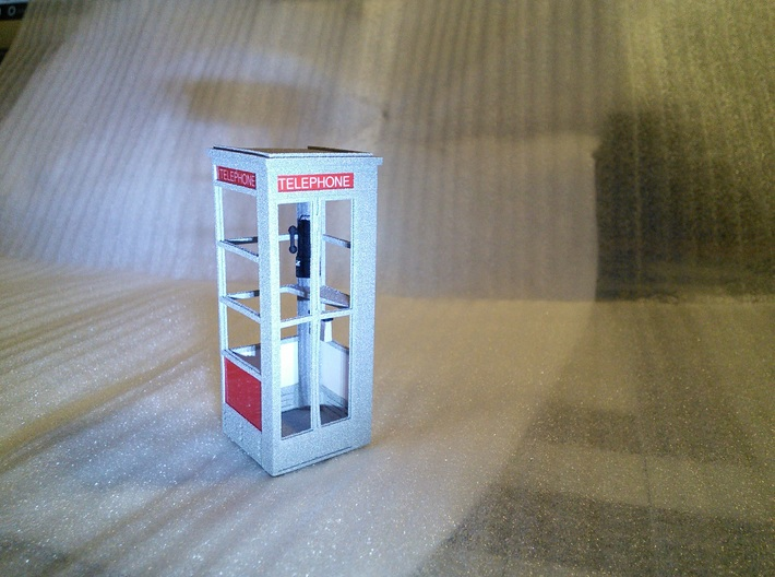Telephone Booth, 1/32 Scale 3d printed Panels and sign made using computer and color printer.