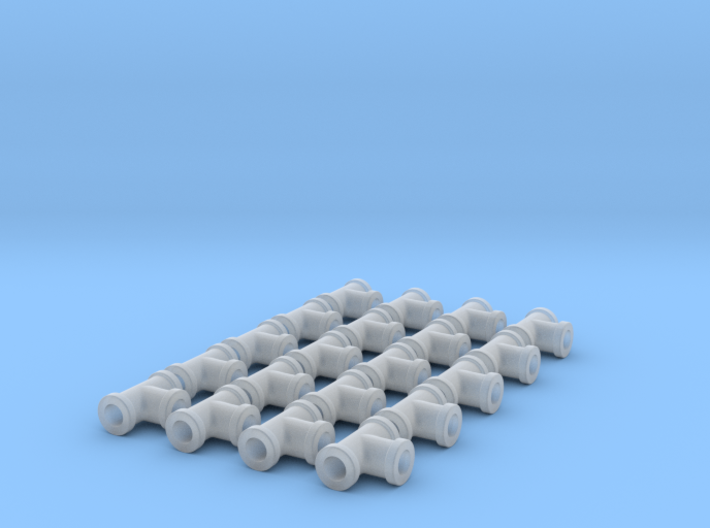 "Miniature Pipe Connectors Ts 3/32"" 2.4mm (X20) 3d printed"