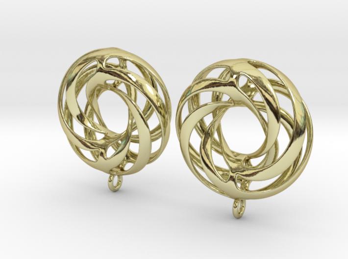 Twisted Torus Earrings in Precious Metals 3d printed