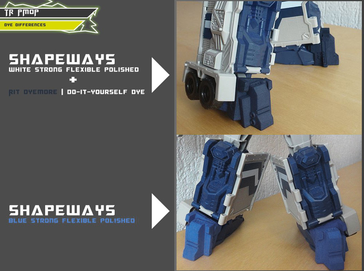 TR PMOP Feet Upgrade Set A 3d printed Showing dye difference
