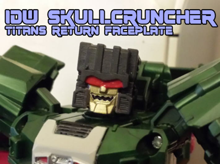 Skullcruncher Face, IDW (Titans Return) 3d printed hand painted high-def black acrylale print