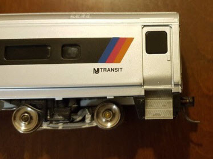 Walthers NJT/SEPTA/M-N Comet II replacement steps 3d printed Trucks are available on Shapeways from Imperial Hobby Productions