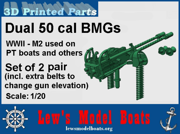 PT Boat Dual BMG for turrets, two pairs, 1/20 scal 3d printed