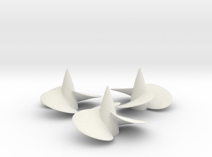 Three ship propellers f. Bismarck/Tirpitz 1/100 V2 3d printed