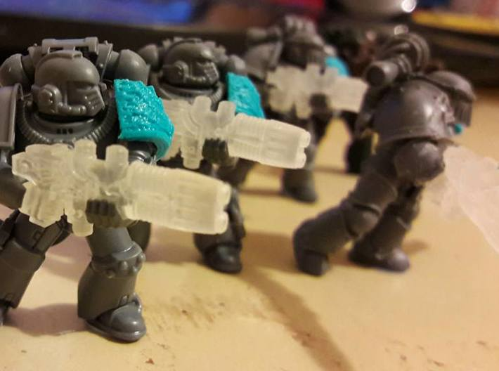 Plasma Repeating Shotgun Sprue X5 3d printed Space Marines shown for scale