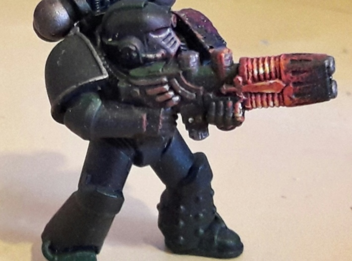 Plasma Repeating Shotgun Sprue X5 3d printed Space Marine shown for scale