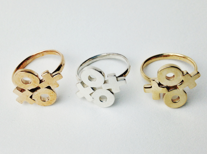 Xoxo Ring 3d printed Polished Bronze, Silver & Brass
