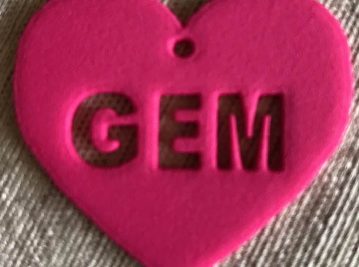 "Heart Name Tag Extra Large (3"") 3d printed"