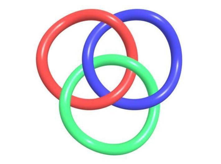 Brunnian Circles 3d printed CGI rendering