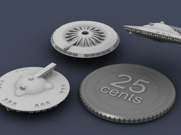 Martian Aelita class Corvette 3d printed 3D render showing top, bottom and side views of the ship, with a fake quarter for scale reference.