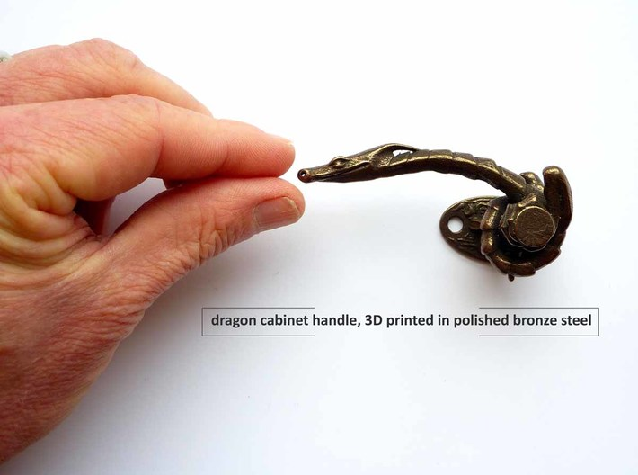 Dragon Cabinet Handle 10 - looking left 3d printed dragon cabinet handle - 3D printed in steel