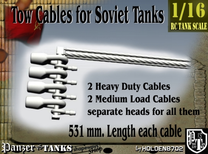 1-16 Soviet Tank Tow Cables Set1 3d printed