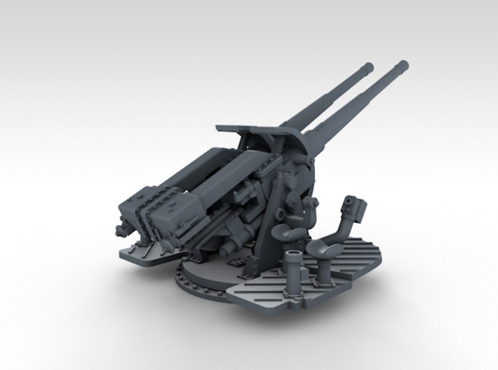 "1/350 4.7"" MKXII CPXIX Twin Mount x3 25º 3d printed 3d render showing gun elevation of 25º"
