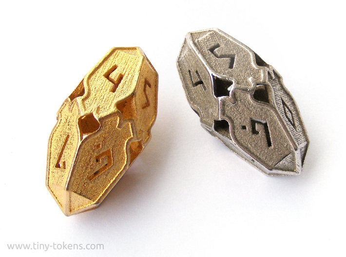 Amonkhet D10 Spindown Life Counter - Large, 3d printed Polished Gold Steel and Stainless Steel.