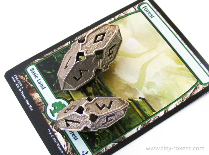 Amonkhet D10 Spindown Life Counter - Small, 3d printed The small version compared to the large version, with a MTG card for scale