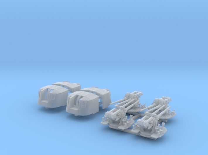 """1/350 4.7"""" MKXII CPXIX Twin Mount x4 Sights Closed 3d printed 1/350 4.7"""" MKXII CPXIX Twin Mount x4 Sights Closed"""
