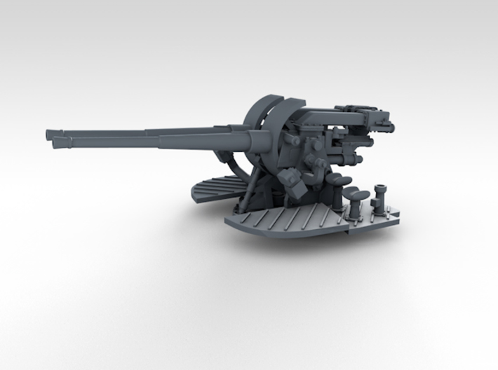 """1/350 4.7"""" MKXII CPXIX Twin Mount x4 Sights Closed 3d printed 3d render showing gun mount detail"""