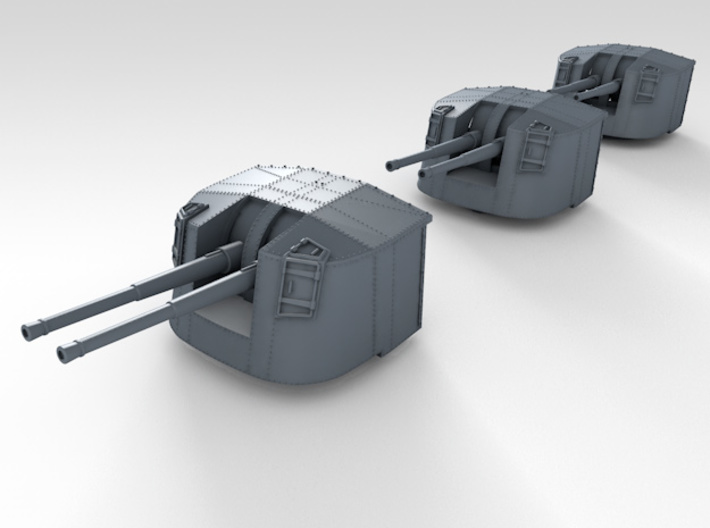 "1/350 4.7"" MKXII CPXIX Mount x3 Closed Sights 3d printed 3d render assembled showing set"