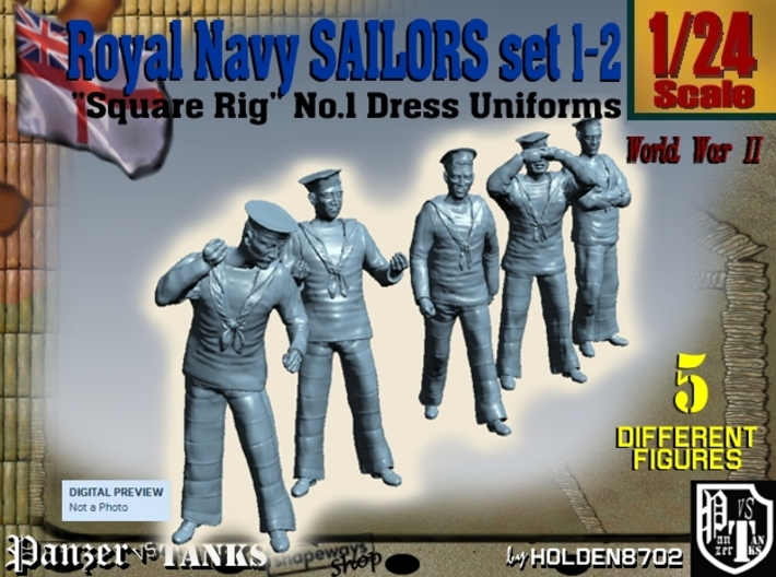 1-24 Royal Navy Sailors Set1-2 3d printed