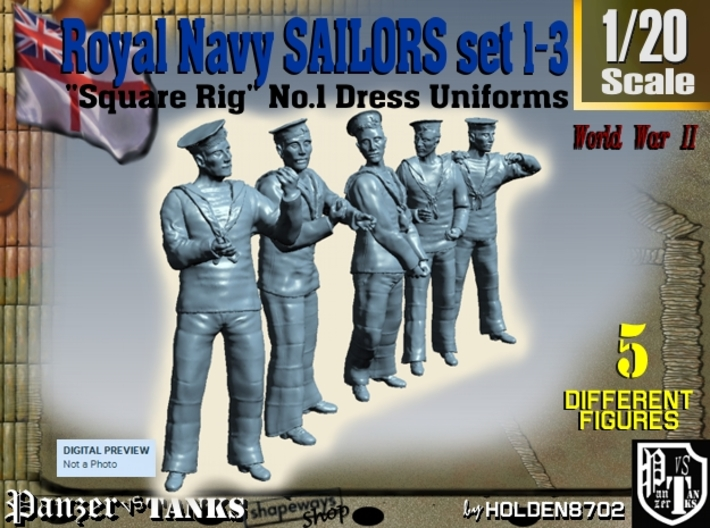 1-20 Royal Navy Sailors Set1-3 3d printed