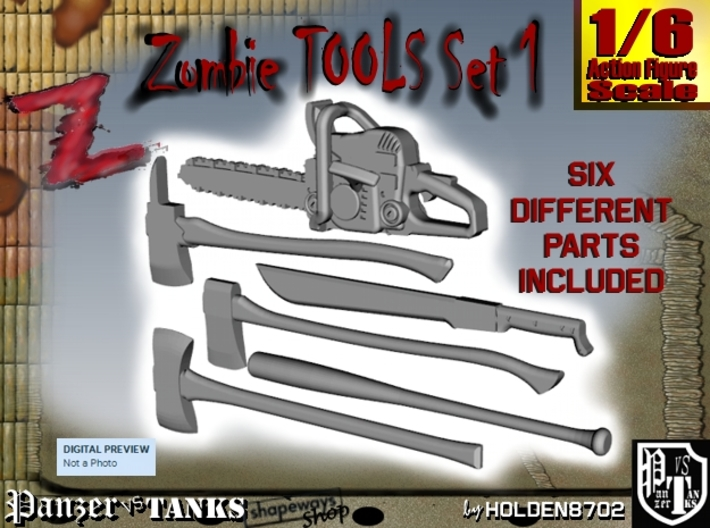 1-6 Zombie Tools Set1 3d printed