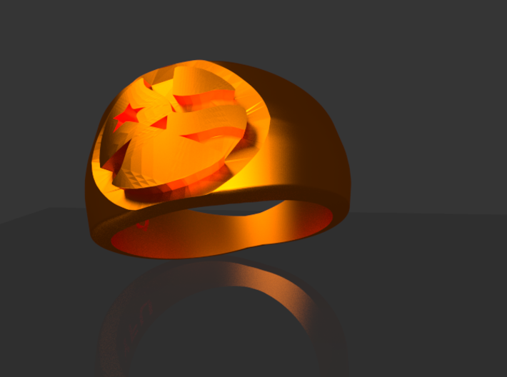 YFU Simple Logo Ring 3d printed Rendered Blender Image