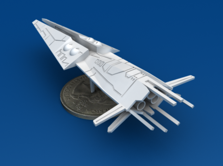 Galactic Scout Ship, New Albion 3d printed Size Comparison to U.S. Quarter, Back 3/4