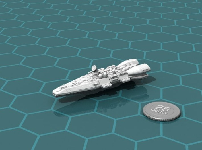 Colonial Battlecruiser 3d printed Render of the model, with a virtual quarter for scale.