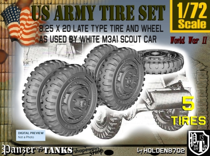 1-72 8-25x20 Late Tire White Scout Car Set2 3d printed