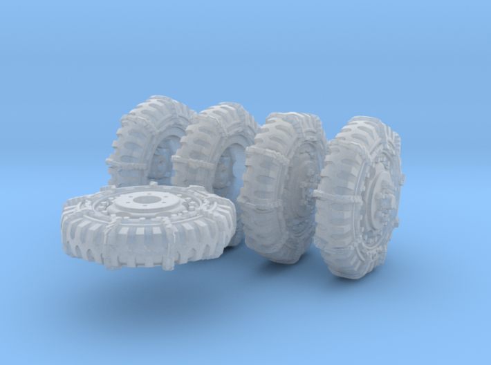 1-72 8-25x20 Late Tire Snow Chain Halftrack Set4 3d printed