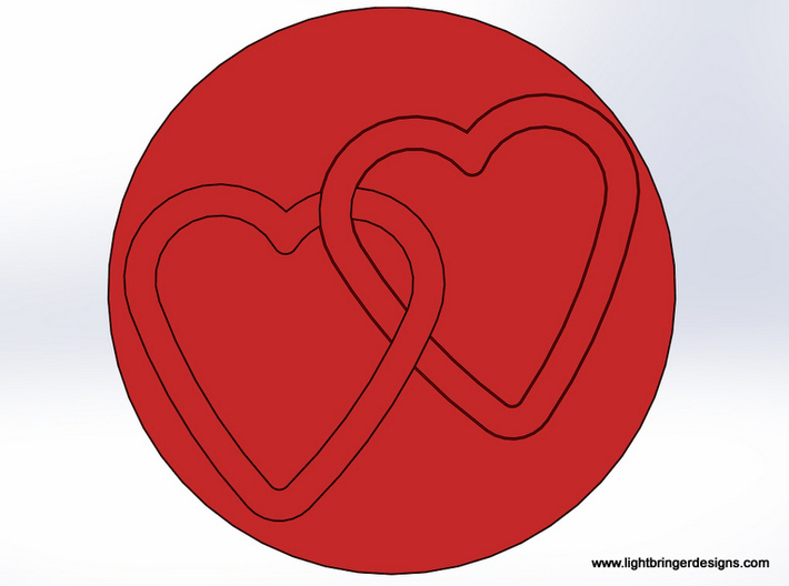 Linked Hearts Wax Seal 3d printed This is what the wax impression will look like.