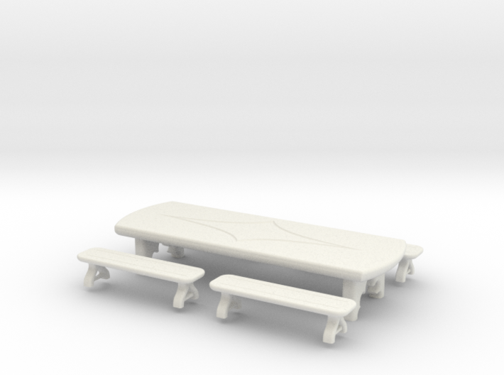 Table: Tavern: with Benches 1:48 3d printed