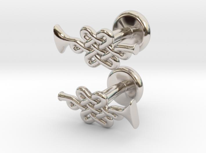 Infinity Knot Trumpet Cufflinks 3d printed