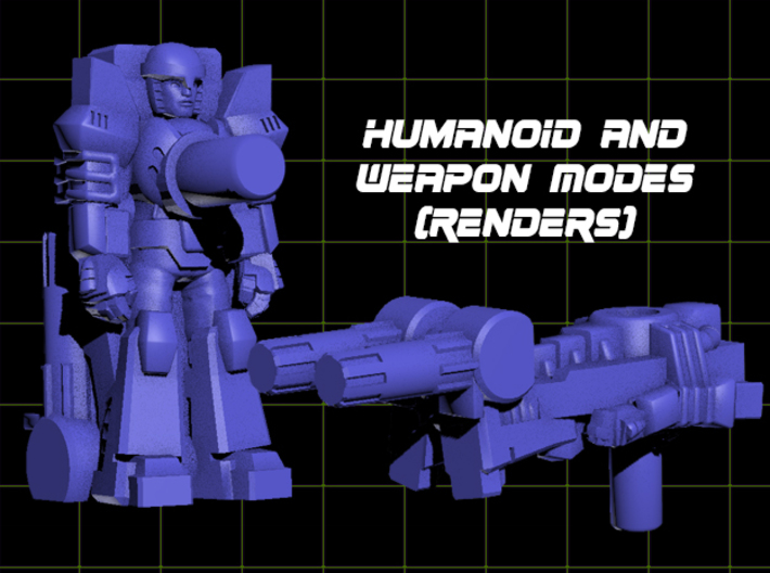 Heater Targetmaster (5mm) 3d printed Render of figure in both modes.