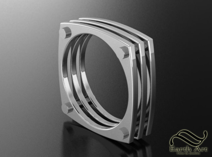 Squircle Studded Ring Size 10 3d printed Shown in polished Sterling