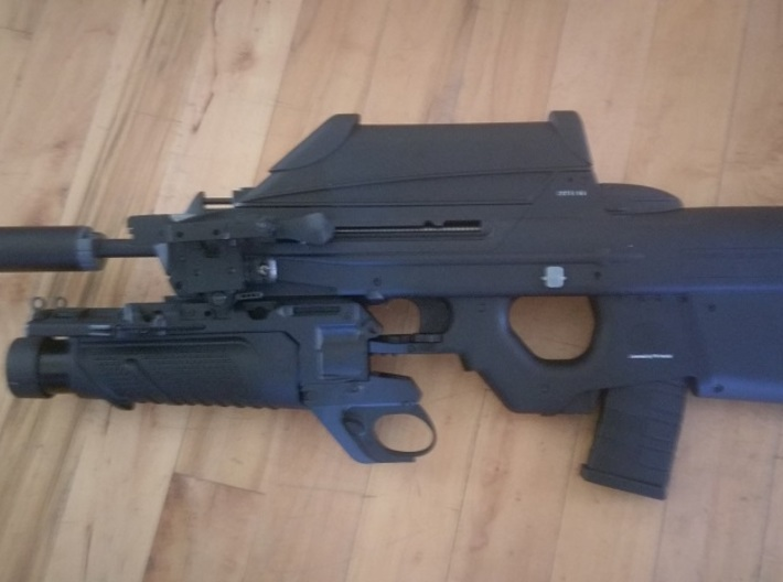 G&G F2000 Retention Posts 3d printed F2000 with mounted Grenade Launcher