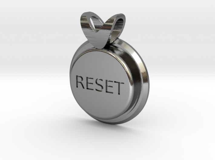 Press Reset necklace pendant 3d printed