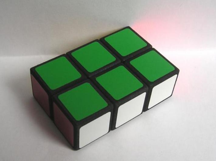 Easy Cuboid: 1x2x3 3d printed Dyed black, with stickers