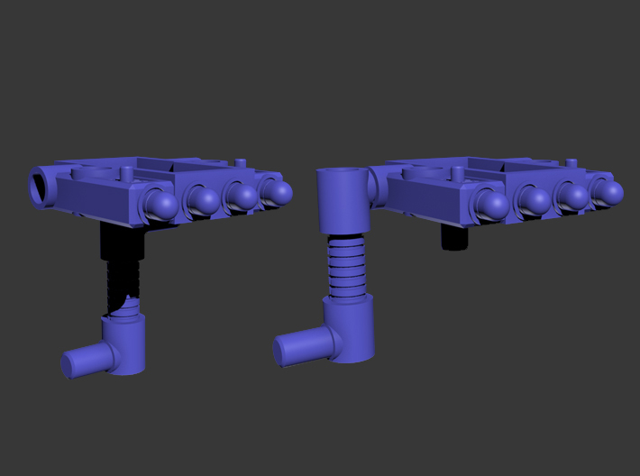 Titan Master Missile Turret (5mm) 3d printed Renders showing different configurations of the platform and the support arm.