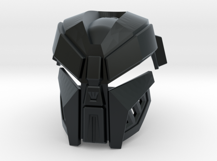 Kanohi Kraahkan [2nd Epic Edition] 3d printed Face - Black Hi-Def Acrylate