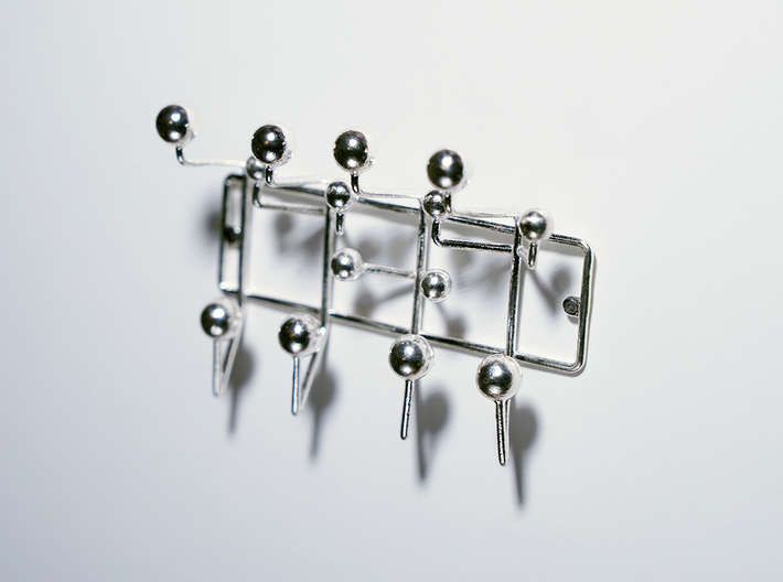 Hangitall micro 3d printed Raw Silver fixed 6mm pin to wall