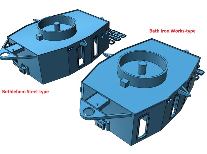 1/96 Fletcher (Bath Iron Works-type) Pilot House 3d printed