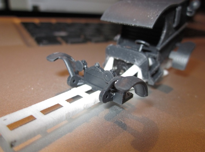 """HWP HO Slot Car Body """"Miss Demeanor"""" 3d printed Black Hi-Def Acrylate resin provides the smoothest finish possible."""