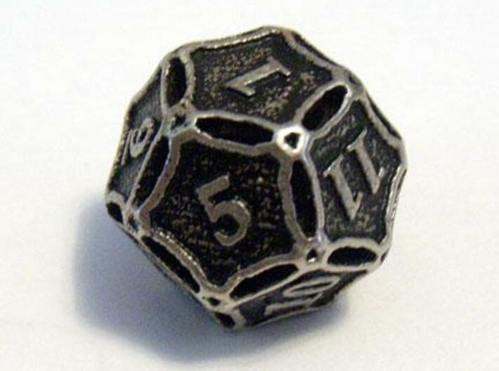 Die12 3d printed A Die8 in stainless steel and inked.