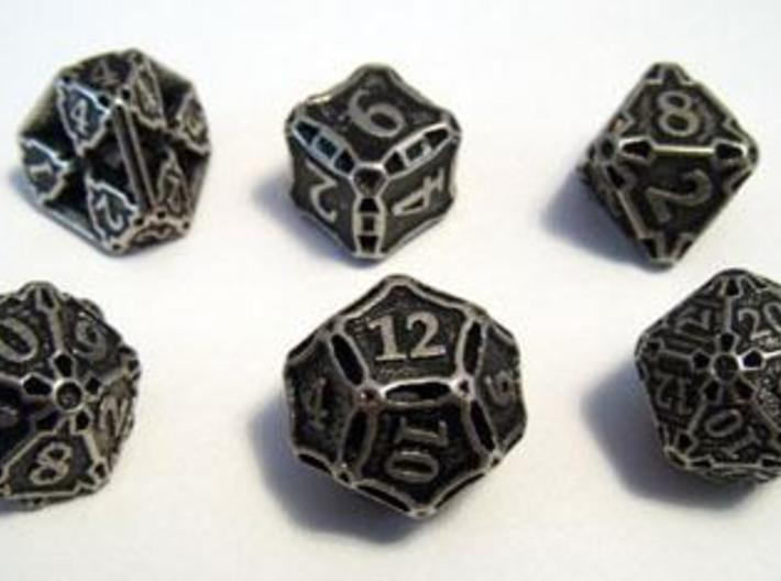 Premier Dice Set 3d printed Dice set in stainless steel and inked.