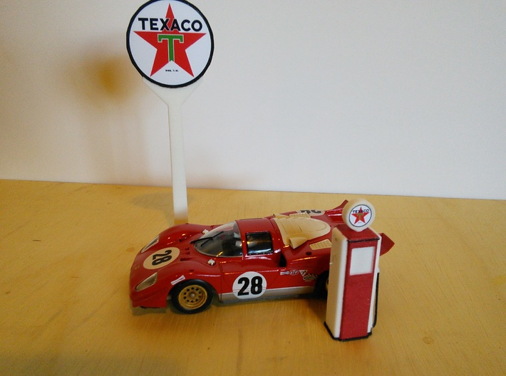 Tokheim 39 Gas Pump, 1/32 Scale 3d printed 1970 Ferrari 512 between gas pump and gas station sign post.