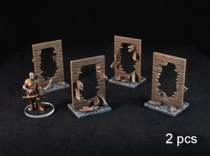 Broken Walls tokens (28-32mm scale) 3d printed Hand-painted White Strong Flexible Polished. Miniature for scale.