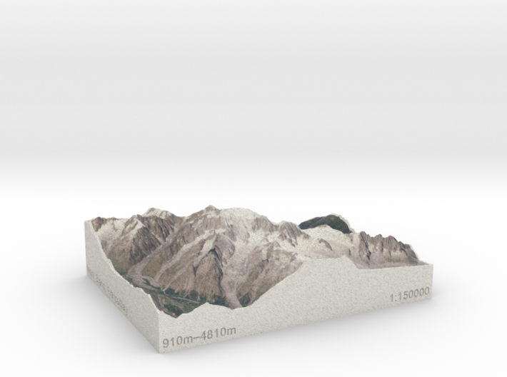 Mont Blanc, France/Italy, 1:150000 Explorer 3d printed