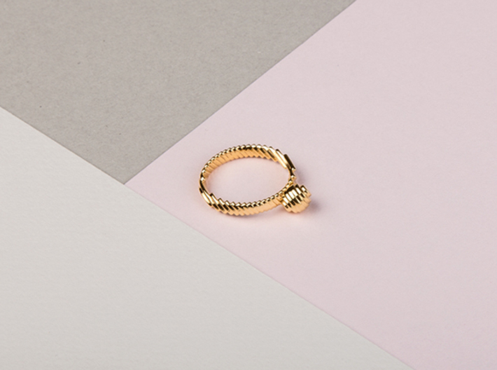 archetype - pearl ring 3d printed pictured material: 14 k gold